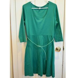 Kelly Green Old Navy 3/4 qrt. Sleeve Skater Dress